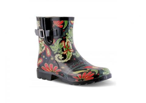 Nomad Paisley Black Dew Rain Boots Women Size 7 LARGE Fit RV $47